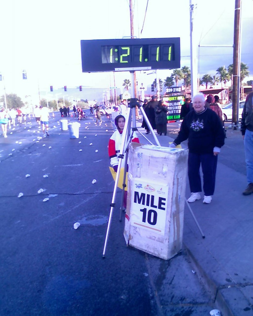 Mile ten at about an 8-min/mile pace.. to fast for a 4-hour goal, Las Vegas Marathon (2006 December 10) Las Vegas NV