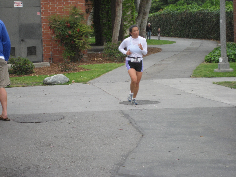 almostfinish Cathy running at CSULB Reverse Triathlon