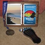 Finish award and first barefoot marathon finisher