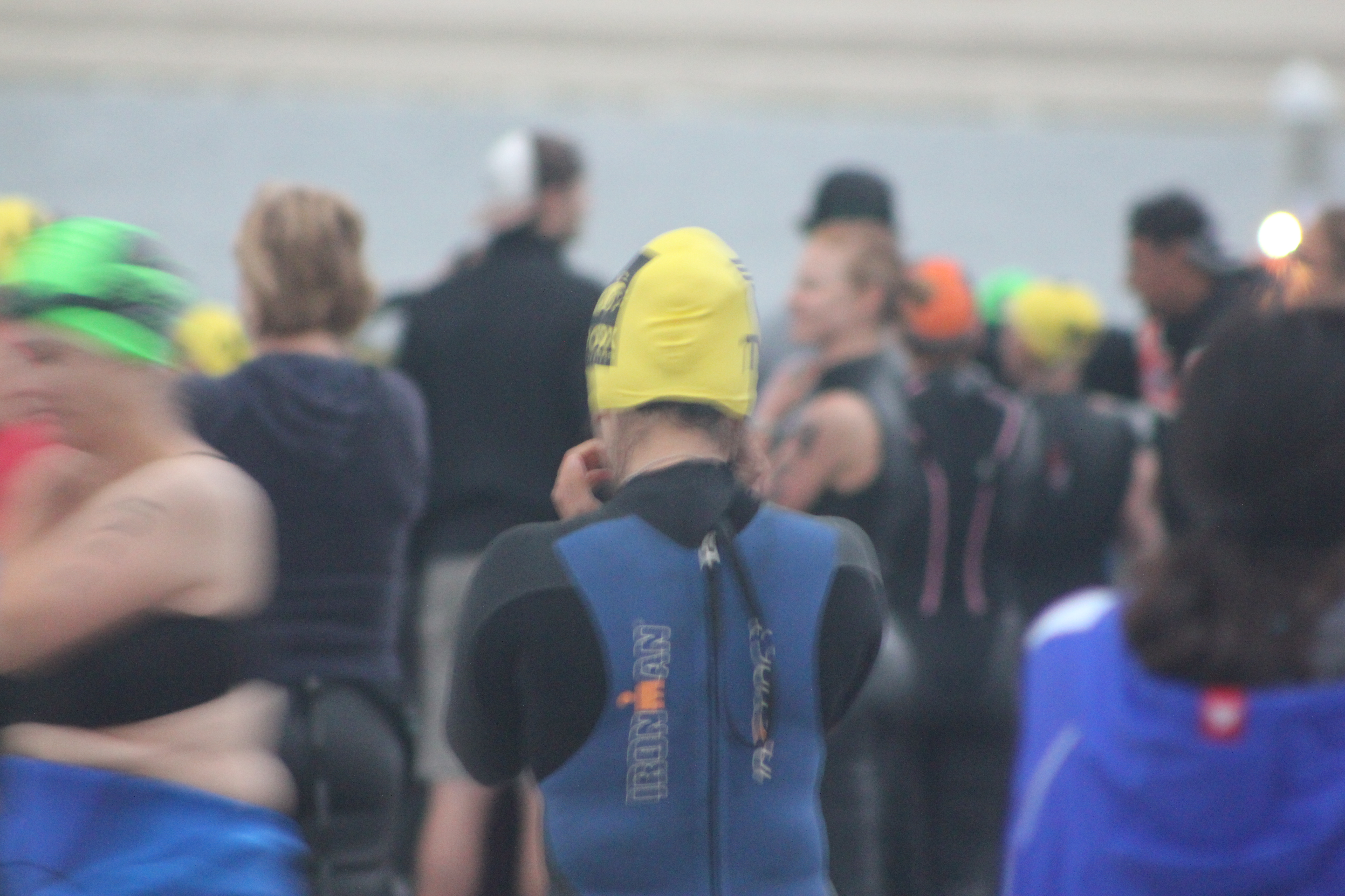 Cathy's (yellow cap) before swimming, SheRox Triathlon (2011 October 15) San Diego CA