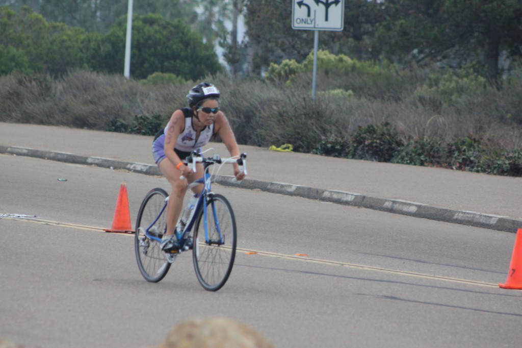 Cathy bicycling, SheRox Triathlon (2011 October 15) San Diego CA