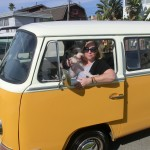 Noodle and Julie in VW microbus