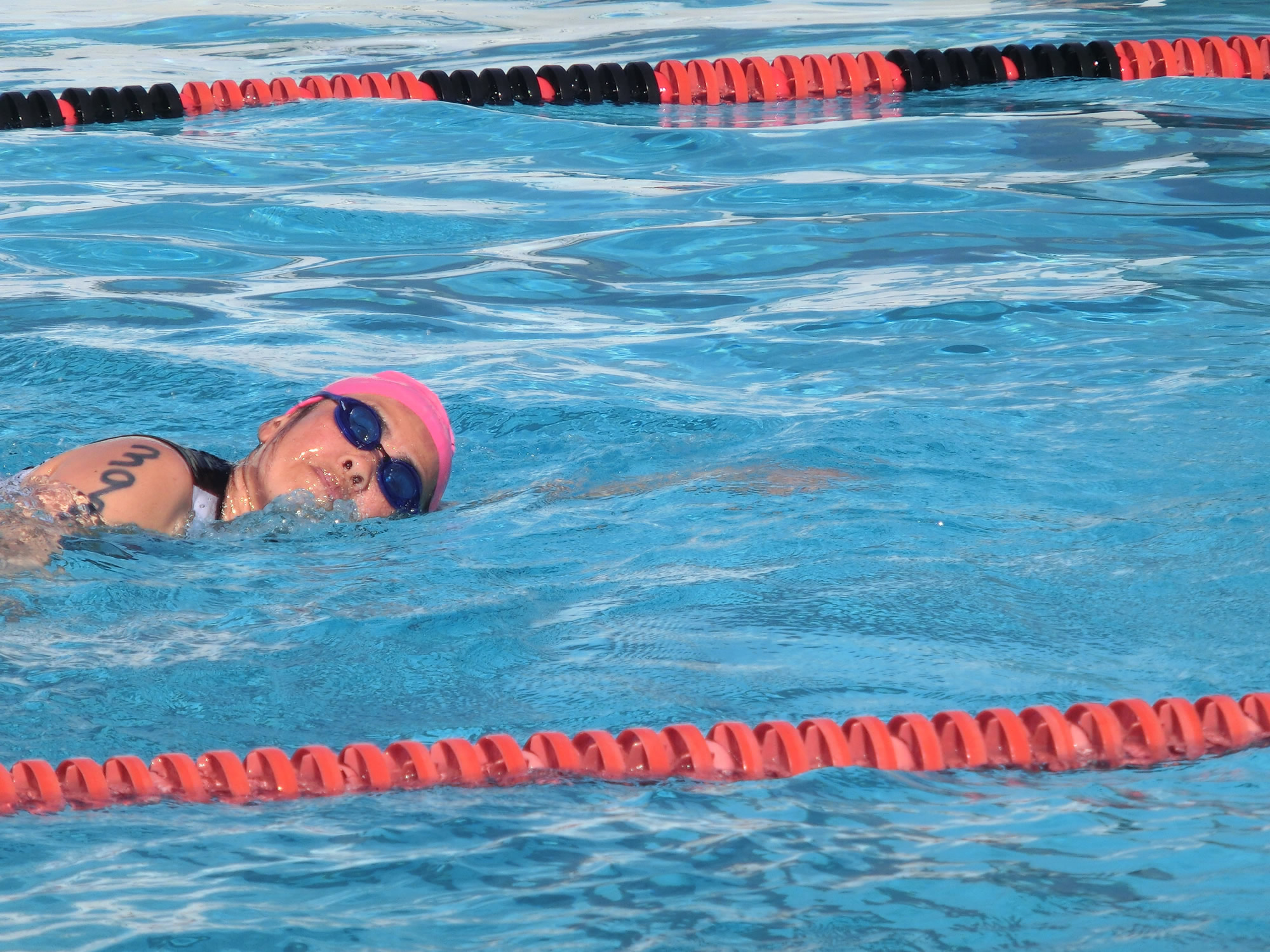 Cathy swimming (2012 February 25) Race on the Base