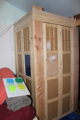 "TARDIS side panels and doors installed - with test panel for ""windows"""