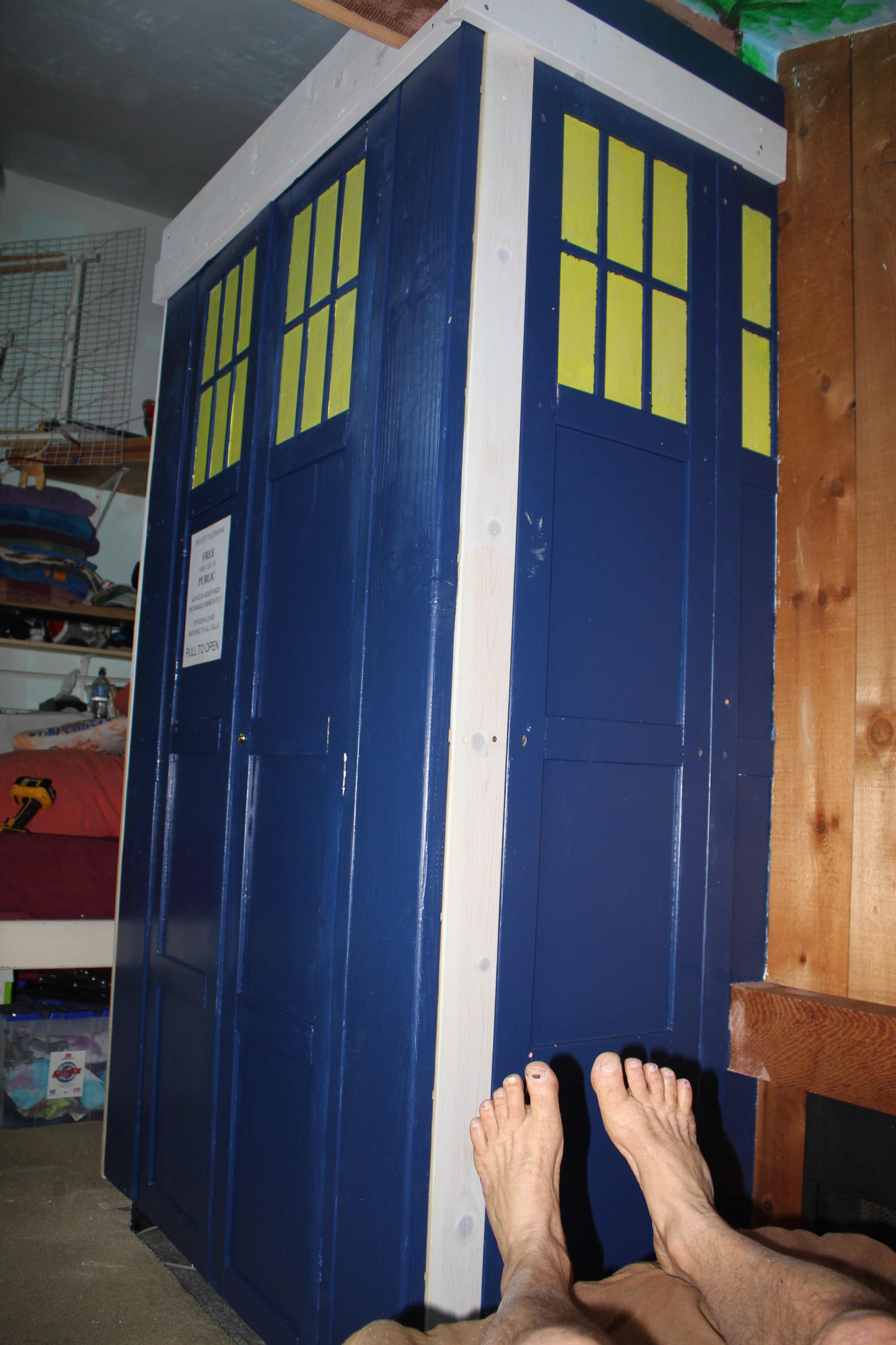 The TARDIS seems to have materialized partially inside the walls of our home.
