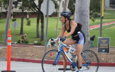 2015 May - Cathy in CSULB Reverse Triathlon (run, bike, swim)